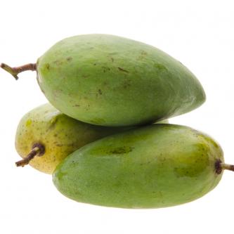"""<p class=""""nom"""">La mangue sauvage</p><p class=""""description"""">Sa caractéristique : De plus petit calibre, elle est verte et légèrement tachetée de noir. Sa chair jaune vif dégage de savoureux arômes très prononcés.</p>"""