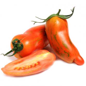 """<p class=""""nom"""">La striped Roman</p><p class=""""description"""">Sa caractéristique : Cette tomate pointue, à la chair dense et savoureuse est très facile à préparer, en petites rondelles. Ferme, elle contient très peu de graines.</p>"""