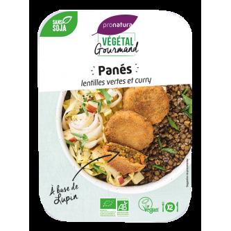 """<p class=""""nom"""">Panés de lentilles vertes et curry, au lupin</p><p class=""""description"""">De délicieuses bouchées croustillantes, source de protéines et de fibres, alliant les lentilles vertes aux subtiles épices de curry.</p>"""