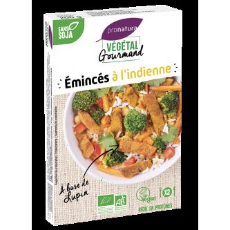 """<p class=""""nom"""">Emincés à l'indienne</p><p class=""""description"""">Ces émincés de lupin riches en protéines sont délicatement parfumés avec un mélange d'épices Tandoori. Parfaits en salade ou en accompagnement de légumes ou de riz.</p>"""