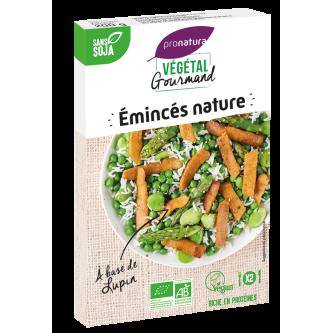 """<p class=""""nom"""">Emincés nature au lupin</p><p class=""""description"""">Ces émincés de lupin riches en protéines permettront de donner libre cours à une cuisine végétale gourmande et originale.</p>"""