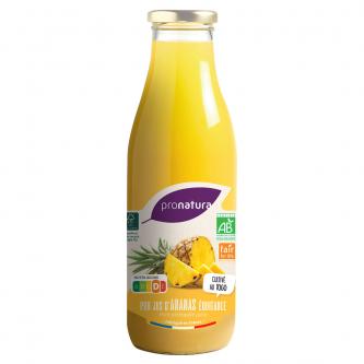 """<p class=""""nom"""">Jus d'Ananas</p><p class=""""description"""">Notre jus d'ananas est réalisé avec l'ananas Cayenne Lisse, cultivé en agriculture biologique au Togo. 275 paysans et leurs familles sont organisés au sein de plusieurs groupements. Toutes les notes de cet ananas particulièrement fruité se retrouvent dans ce jus aromatique d'un beau jaune pâle.</p><p class=""""format"""">75cl</p>"""