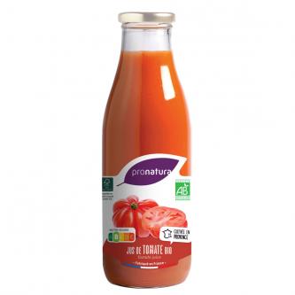 """<p class=""""nom"""">Jus de Tomate</p><p class=""""description"""">Pour le jus de tomates des Producteurs, nous avons sélectionné la tomate Cœur de Bœuf dont la chair apporte son onctuosité, sa fraîcheur et ses arômes. Ce jus est très peu salé (2g/l).</p><p class=""""format"""">75cl</p>"""