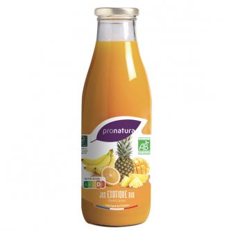 """<p class=""""nom"""">Jus Exotique</p><p class=""""description"""">Notre jus de fruits exotiques est élaboré avec les meilleurs fruits issus de nos diverses filières de production : l'ananas Cayenne lisse du Togo (30%), la mangue Amélie du Burkina Faso (20%), la banane d'Equateur (10%) et enfin l'orange d'Espagne (40%).</p><p class=""""format"""">75cl</p>"""