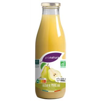 """<p class=""""nom"""">Nectar de Poire</p><p class=""""description"""">Notre nectar de poires biologiques est réalisé avec les variétés Guyot et Williams, récoltées en Provence. L'association de la texture fondante de la Williams et des arômes musqués de la Guyot, donne un nectar doux et léger au parfum délicat.</p><p class=""""format"""">75cl</p>"""