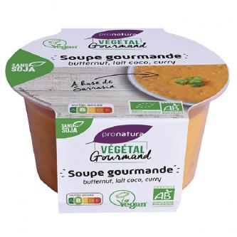 """<p class=""""nom"""">Soupe Butternut, Lait de Coco</p><p class=""""description"""">Notre soupe à la courge butternut est un véritable délice : elle est savoureuse et bonne pour votre santé ! Elle a été cuisinée à partir de courge butternut, sarrasin cuit et de lait de coco. Ce plat bio et veggie vous séduira à coup sûr par son caractère à la fois naturel et pratique.</p>"""